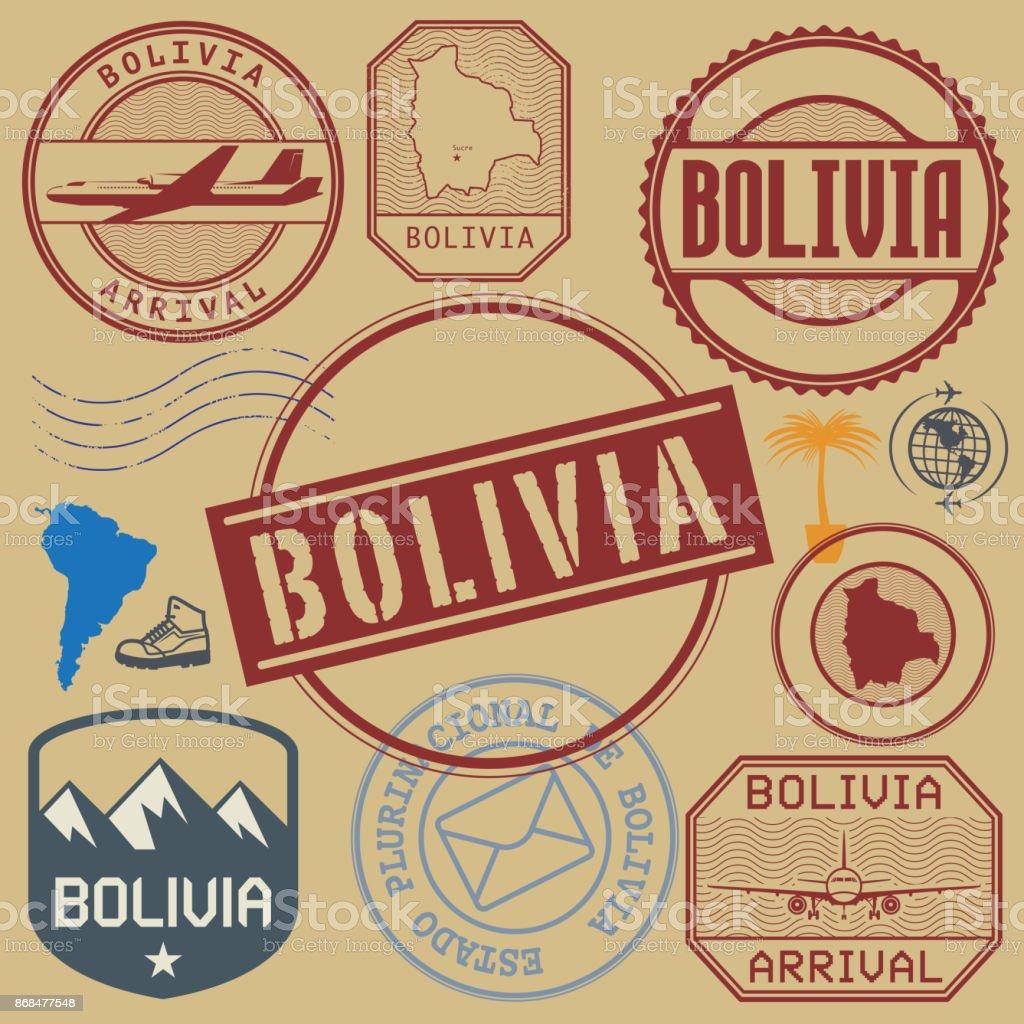 Cupones de viajes Bolivia - ilustración de arte vectorial