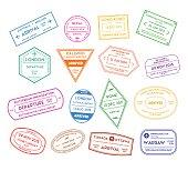 Travel Stamps Color Set International Visa Thin Line Set Pixel Perfect Art. Material Design. Vector illustration
