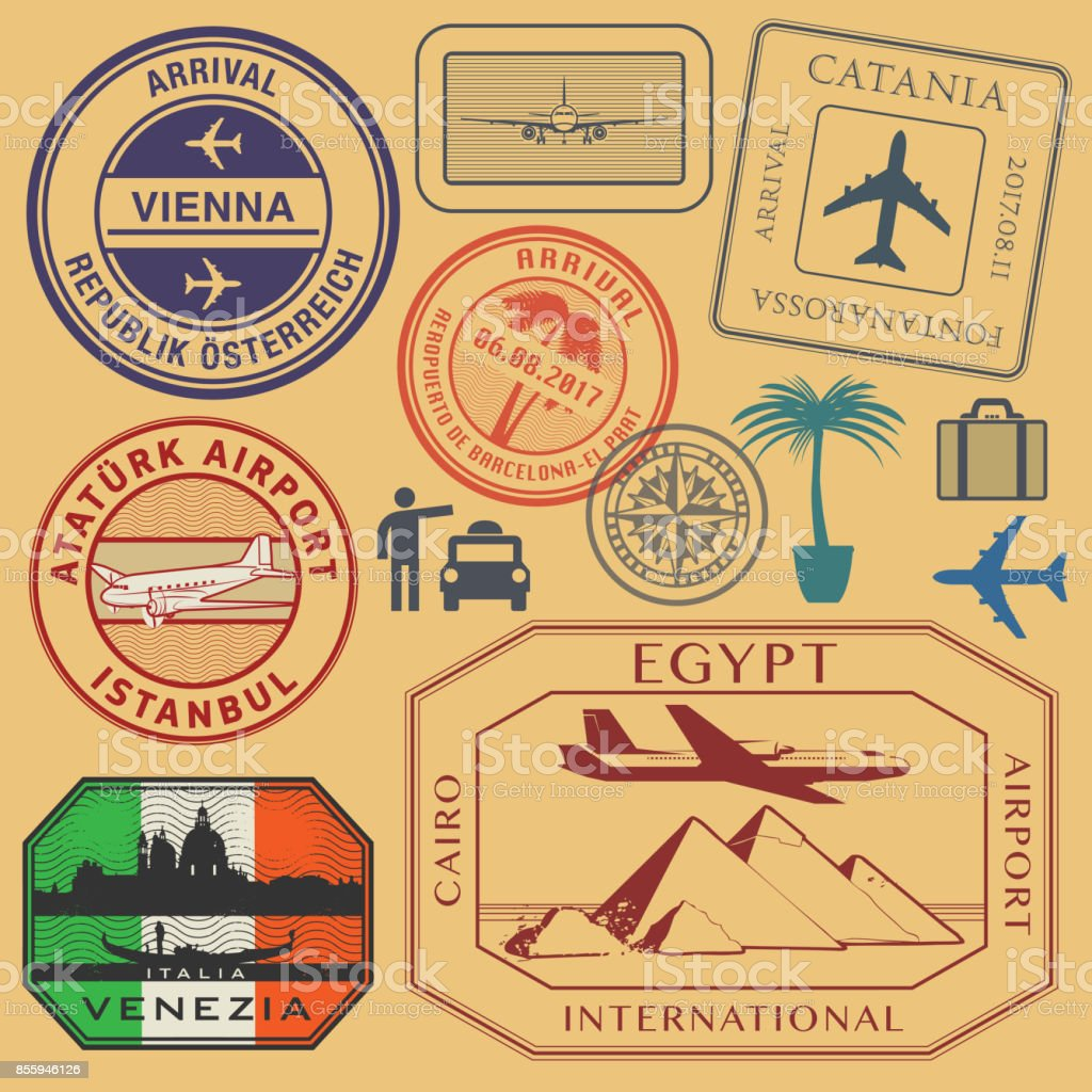 Travel stamps or symbols set airport theme vector art illustration