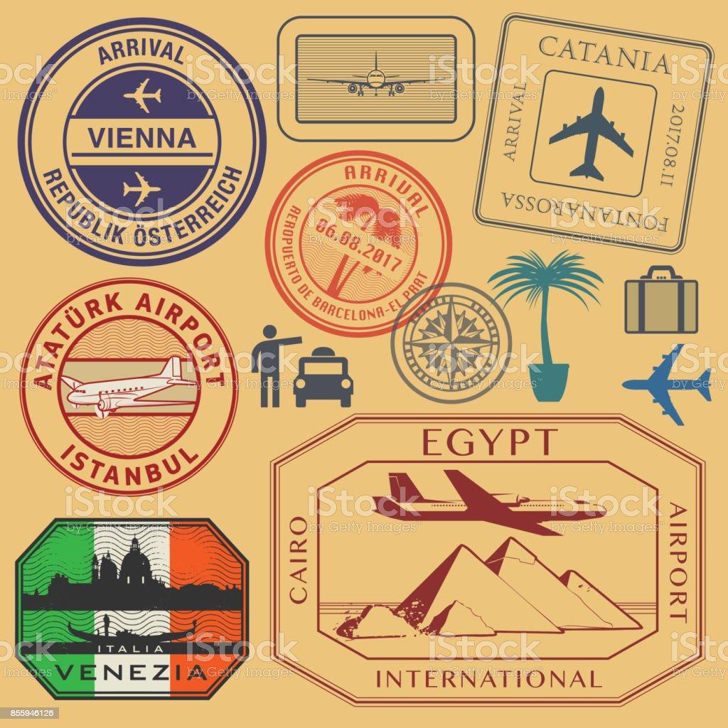 Reisethema Briefmarken oder Symbole Set Flughafen – Vektorgrafik