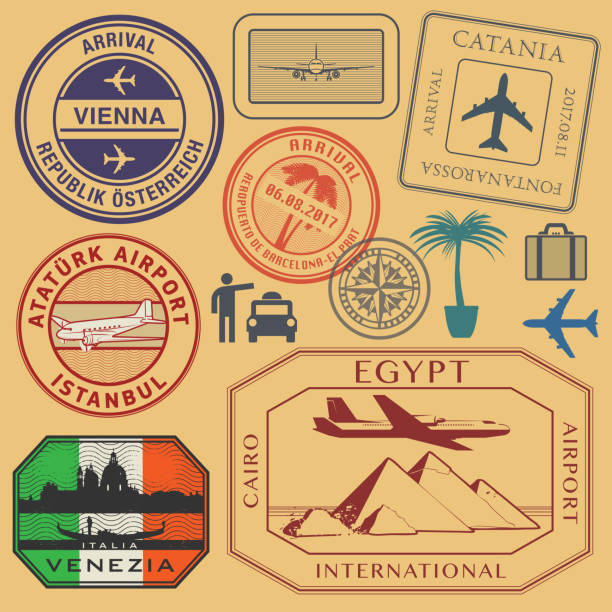 travel stamps or symbols set airport theme - africa travel stock illustrations, clip art, cartoons, & icons