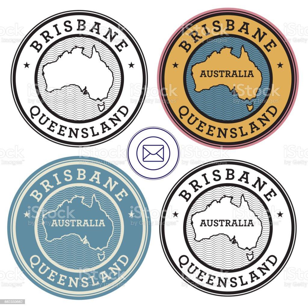 Travel stamps set Australia, Brisbane vector art illustration