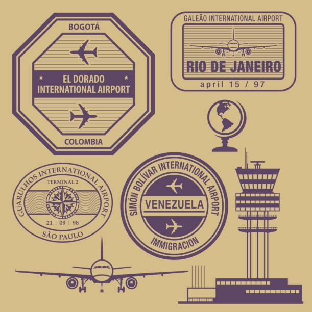 ilustraciones, imágenes clip art, dibujos animados e iconos de stock de conjunto de sellos de viajes - viaje a sudamérica