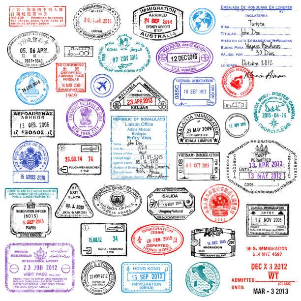 ilustraciones, imágenes clip art, dibujos animados e iconos de stock de ilustración de stock de travel stamps super collection - viaje a reino unido