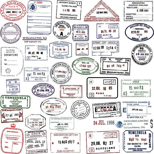 podróż znaczki super pobrania - pieczęć znaczek stock illustrations