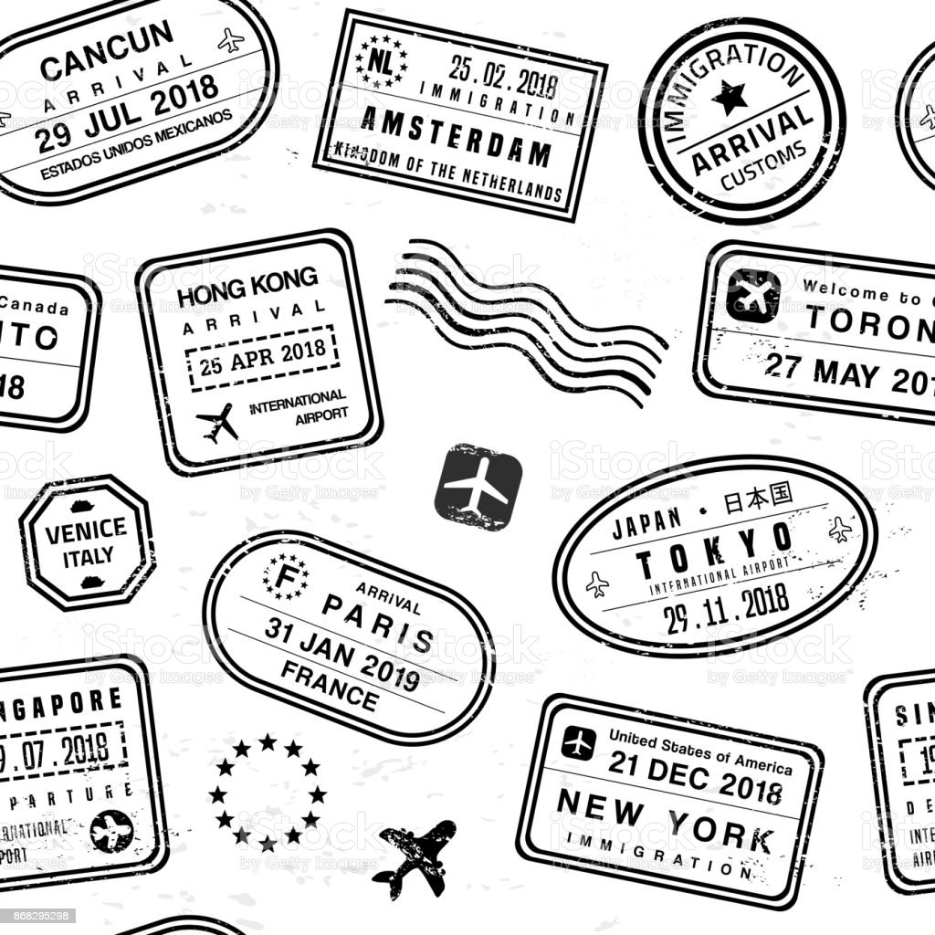 Travel stamps Travel background - passport stamps collage. Fictitious stamps set. Airport stock vector