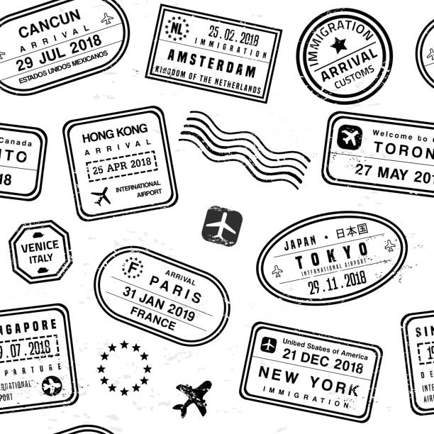 Travel stamps Travel background - passport stamps collage. Fictitious stamps set. airport backgrounds stock illustrations