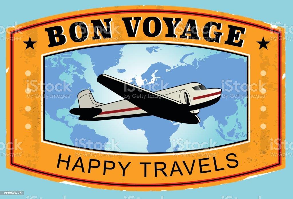 Bon Voyage Voyage autocollant - Illustration vectorielle
