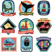 Vector travel stickers of Cape cod.