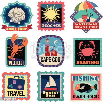 Travel stickers cape cod stock vector art more images of for Ma fishing license cost
