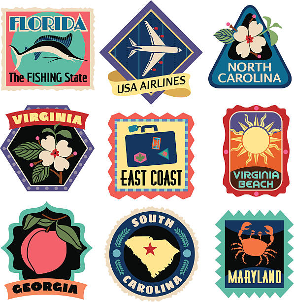 Travel Stickers East Coast USA Vector Southeast US Coast States travel stickers. florida us state stock illustrations