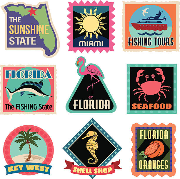 Travel Stickers Florida Vector Florida Travel Stickers. fruit clipart stock illustrations
