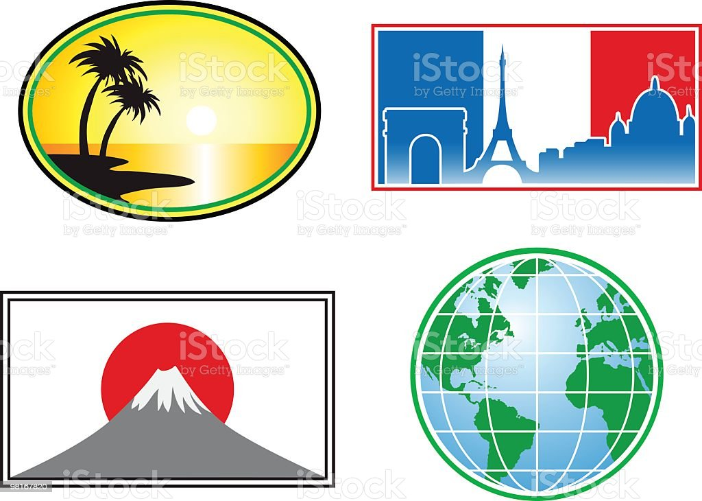 Travel stickers: Tropical, Europe, Japan, The world royalty-free travel stickers tropical europe japan the world stock vector art & more images of adhesive bandage