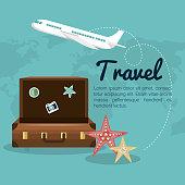 travel suitcase airplane design vector illustration eps 10