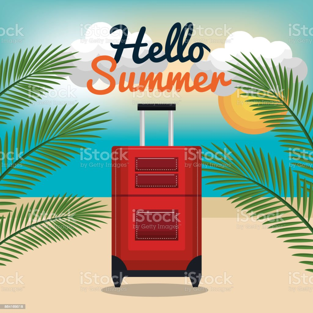 travel suitcase hello summer vacation design royalty-free travel suitcase hello summer vacation design stock vector art & more images of arts culture and entertainment