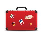 Travel Suitcase Icon on white background.