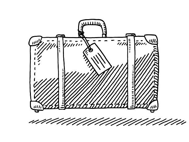 Travel Suitcase Luggage Tag Side View Drawing Hand-drawn vector drawing of a Travel Suitcase with a Luggage Tag, Side View. Black-and-White sketch on a transparent background (.eps-file). Included files are EPS (v10) and Hi-Res JPG. transportation stock illustrations