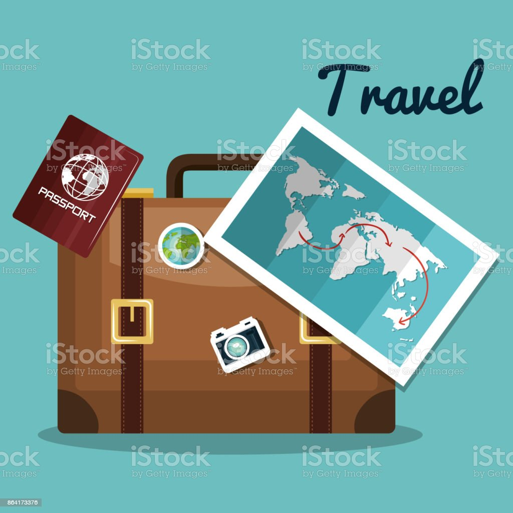 travel suitcase map passport design royalty-free travel suitcase map passport design stock vector art & more images of adventure