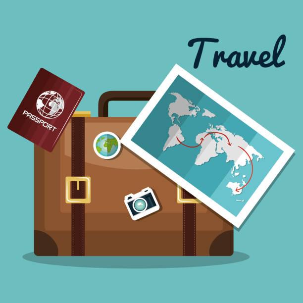 diseño de maleta mapa pasaporte de viaje - ilustración de arte vectorial