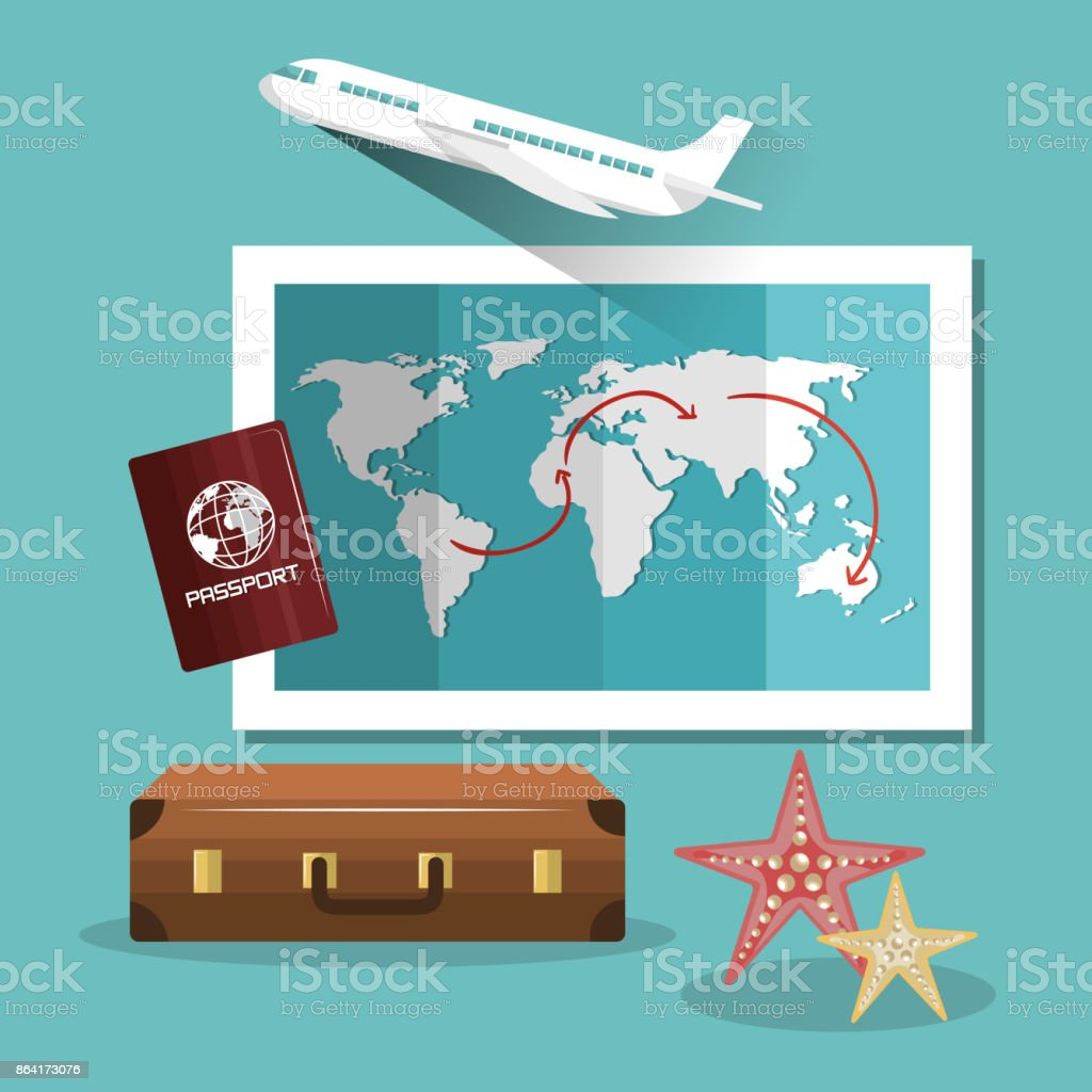 travel suitcase passport map and airplane design royalty-free travel suitcase passport map and airplane design stock vector art & more images of adventure