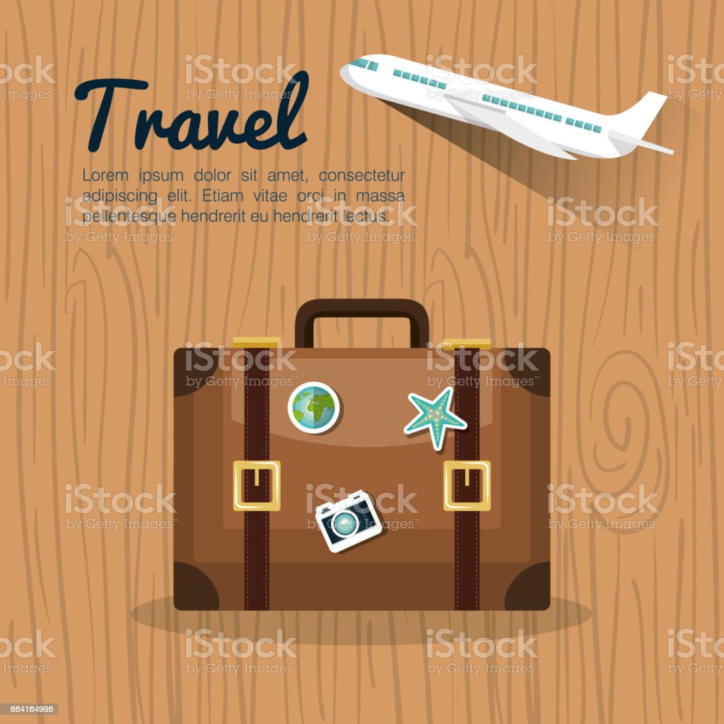 travel suitcase retro airplane design royalty-free travel suitcase retro airplane design stock vector art & more images of airplane