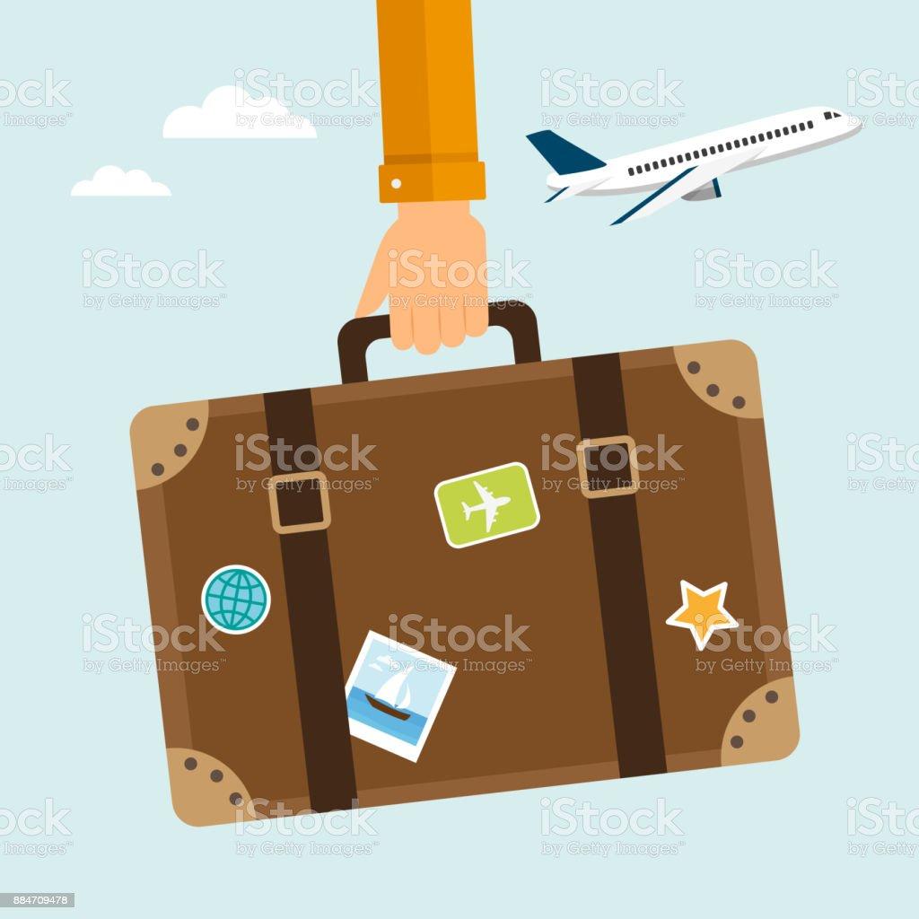 Travel suitcase vector art illustration