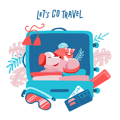 Travel suitcase with dog, cat and hamster. Travelling with animals concept. Minimalism design with holiday objects. Floral palm elements at background. Vector flat illustration. Let's go travel