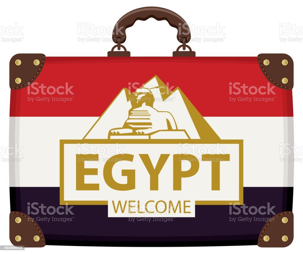 e74b22068 Viajes la maleta con la bandera de Egipto y la esfinge ilustración de viajes  la maleta