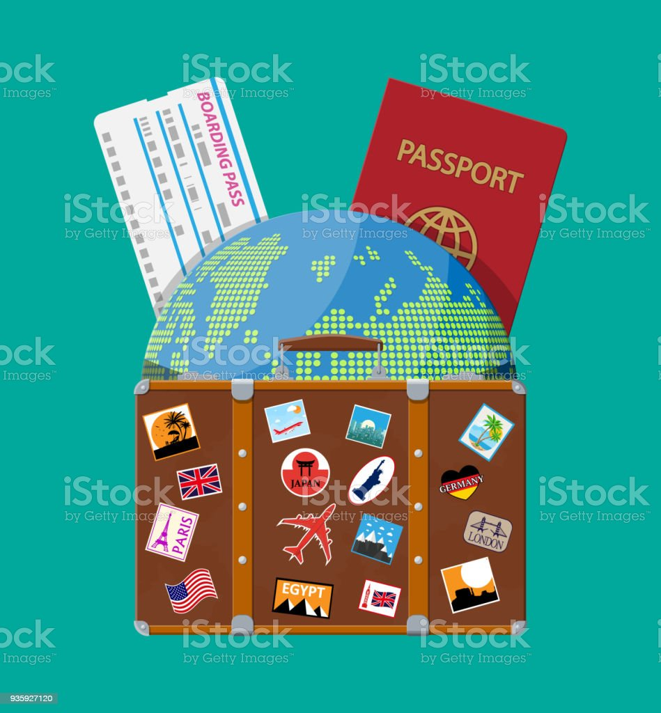 Travel suitcase with stickers and world map stock vector art more travel suitcase with stickers and world map royalty free travel suitcase with stickers and world gumiabroncs Choice Image