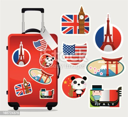 istock Travel Suitcase with stickers 165724375