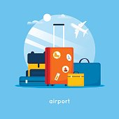 istock Travel suitcases at the airport. Flat design vector illustration. 695533850