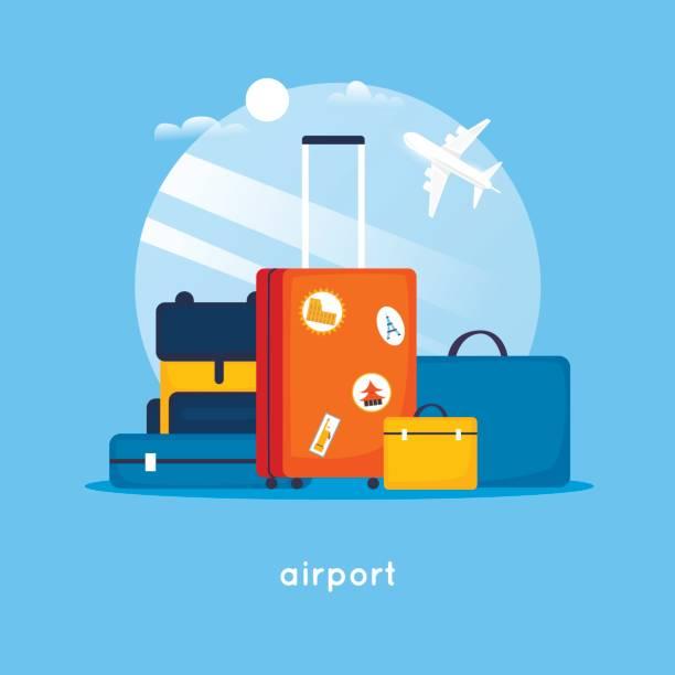 walizki podróżne na lotnisku. ilustracja wektorowa płaskiej konstrukcji. - podróżowanie stock illustrations