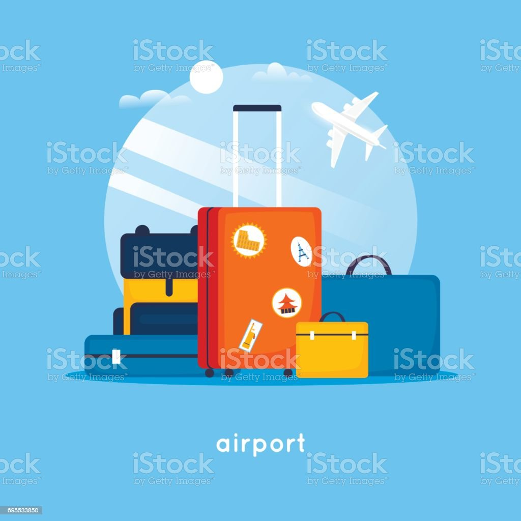 Travel suitcases at the airport. Flat design vector illustration. vector art illustration