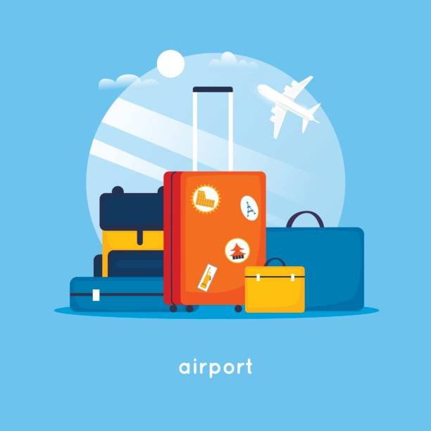 Travel suitcases at the airport. Flat design vector illustration. Travel suitcases at the airport. Flat design vector illustration. airport silhouettes stock illustrations