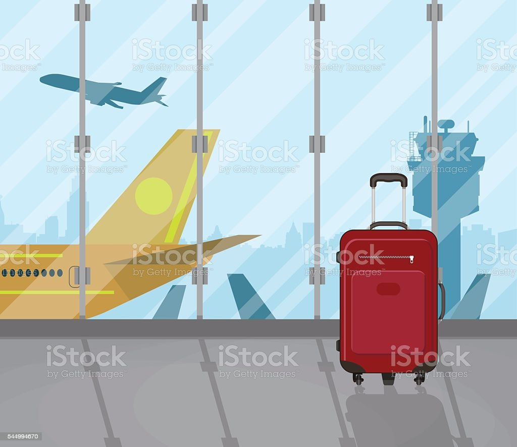 Travel suitcases inside of airport vector art illustration