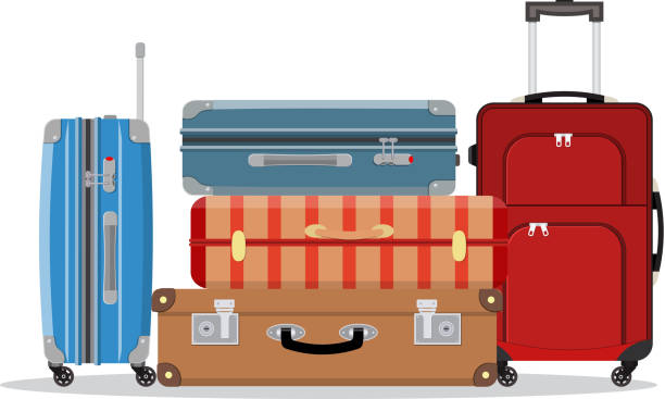 travel suitcases stacked - luggage stock illustrations