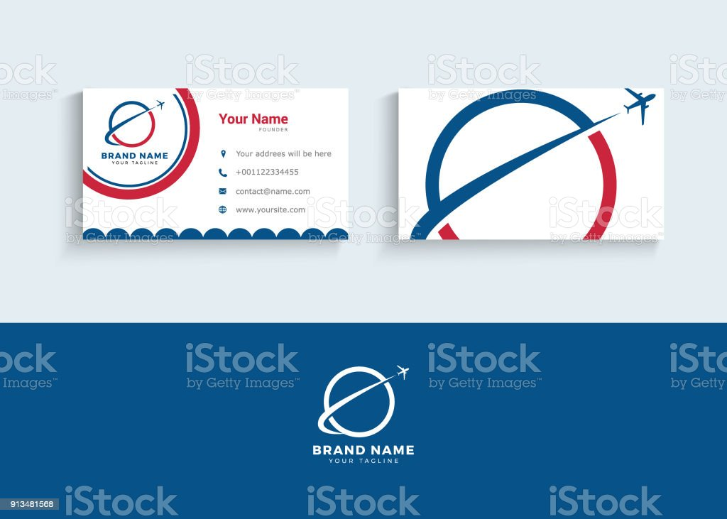 Travel Symbol And Business Card Design Template Stock Vector Art ...