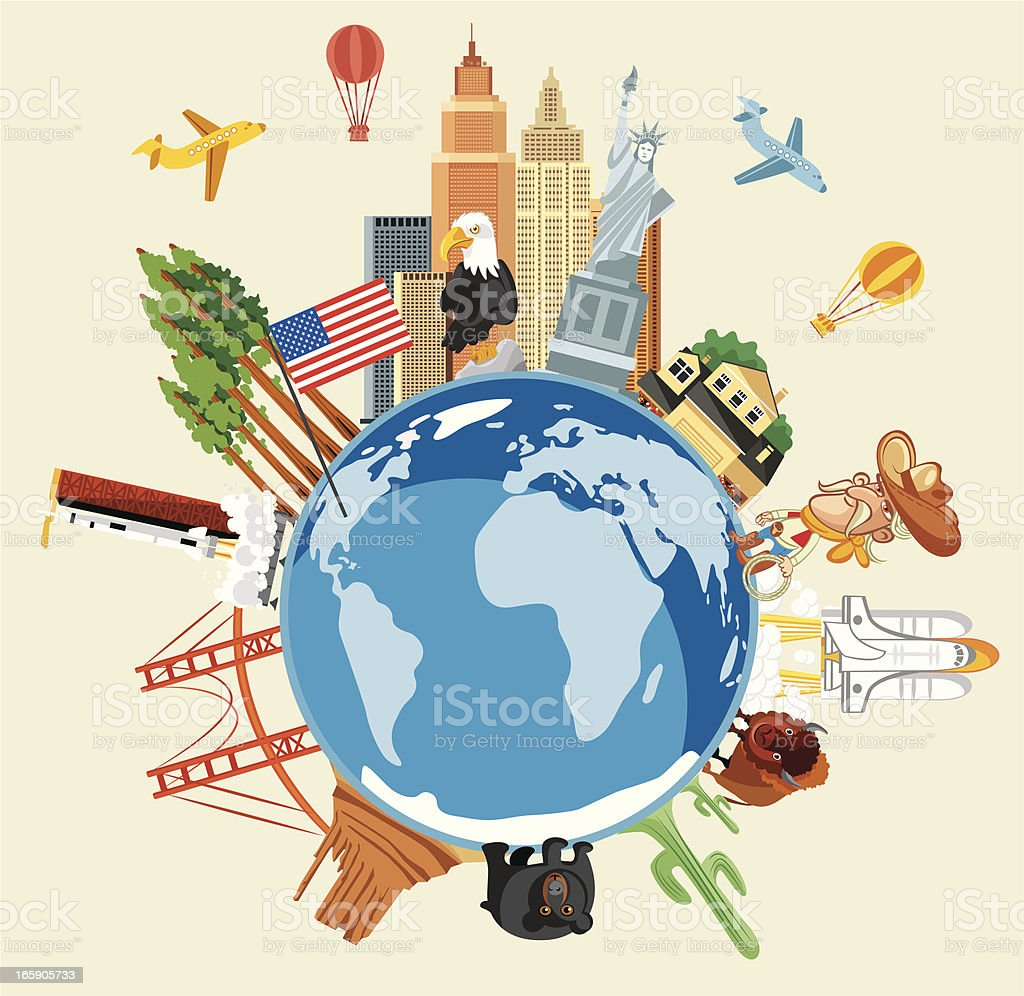 USA Travel Symbols vector art illustration