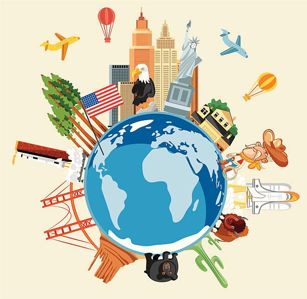 米国旅行のシンボル ベクターアートイラスト