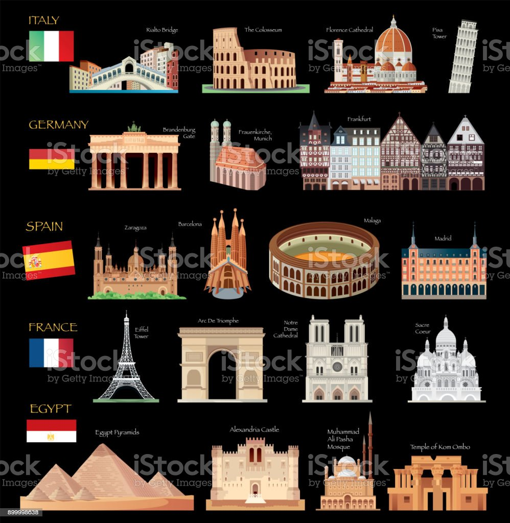 Travel Symbols vector art illustration