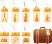 Tags with famous landmarks, and a suitcase.  Tags, landmarks and suitcase can all be used separately.