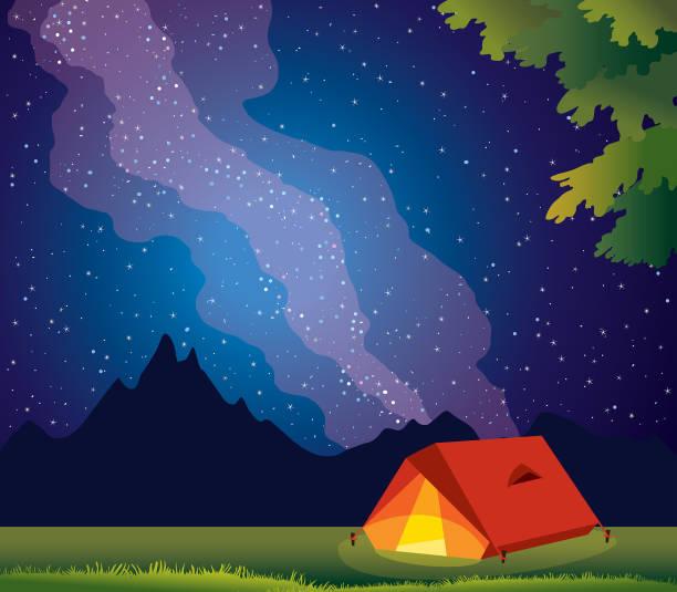 reisen sie, berge, zelt, milchstraße, sternenklaren nachthimmel. - milky way stock-grafiken, -clipart, -cartoons und -symbole