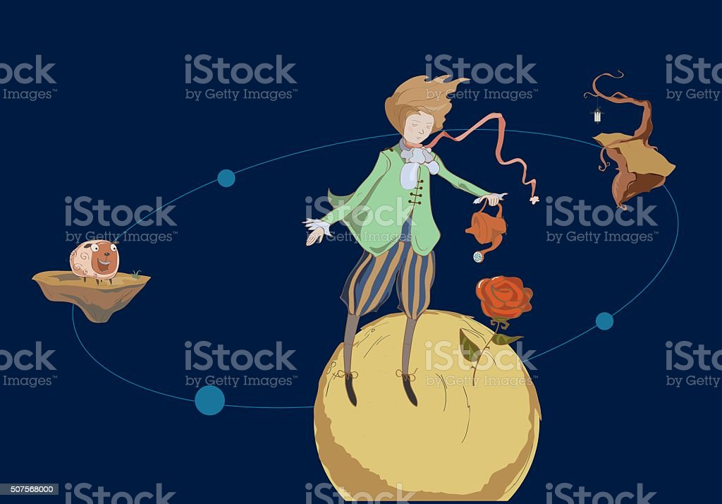 Travel the little prince vector art illustration