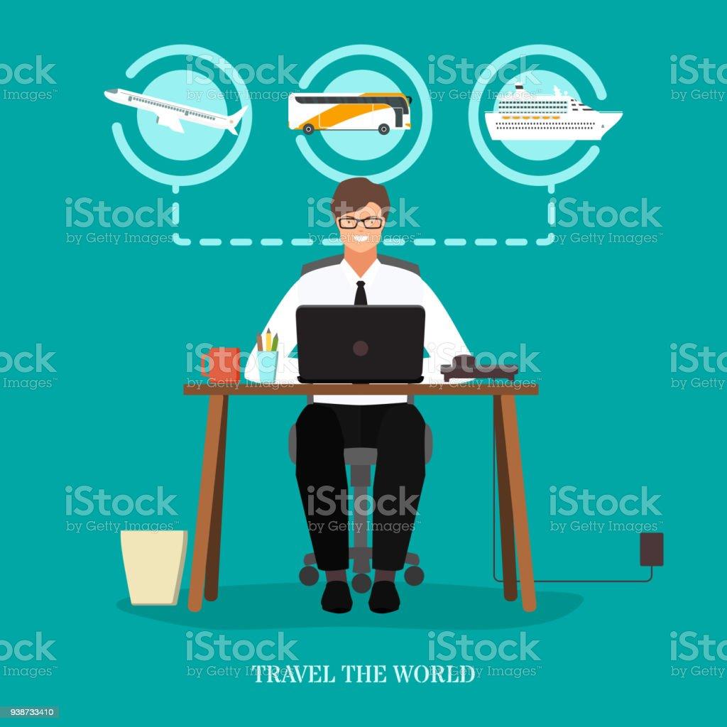 Reisen Sie die Welt Begriff Vektor flache y – Vektorgrafik