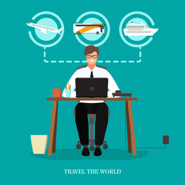 reisen sie die welt begriff vektor flache y - reisebüro stock-grafiken, -clipart, -cartoons und -symbole