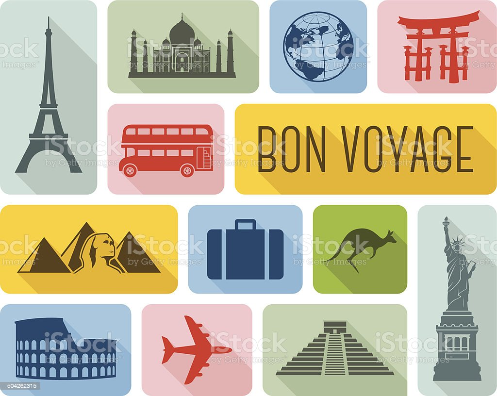Travel the world icons vector art illustration
