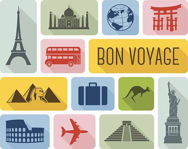 Travel the world icons vector art illustration