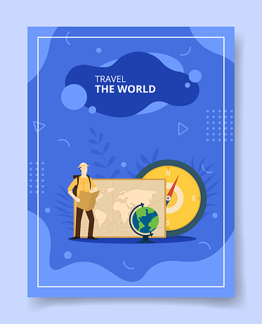 travel the world men standing nearby world map compass globe for template of banners, flyer, books cover, magazines