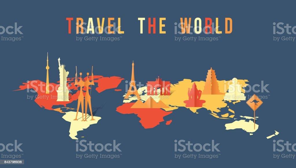 Travel the world paper cut landmark map design vector art illustration