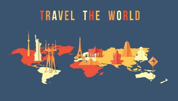 stockillustraties, clipart, cartoons en iconen met reizen de wereld papier knippen landmark kaart ontwerp - monument